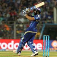 Mumbai Indians captain Rohit Sharma plays a shot during match 24 of the Vivo Indian Premier League ( IPL ) 2016 between the Mumbai Indians and the Kolkata Knight Riders held at the Wankhede Stadium in Mumbai on the 28th April 2016  Photo by Vipin Pawar / IPL/ SPORTZPICS