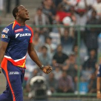 Delhi Daredevils player Carlos Brathwaite celebrates the wicket of Kolkata Knight Riders player Yusuf Pathan during match 24 of the Vivo Indian Premier League ( IPL ) 2016 between the Mumbai Indians and the Kolkata Knight Riders held at the Wankhede Stadium in Mumbai on the 28th April 2016  Photo by Vipin Pawar / IPL/ SPORTZPICS