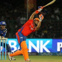 Gujarat Lions captain Suresh Raina plays a shot during match 54 of the Vivo Indian Premier League 2016 ( IPL ) between the Gujarat Lions and the Mumbai Indians held at The Green Park, Stadium in Kanpur, India on the 21st  May 2016  Photo by Vipin Pawar / IPL/ SPORTZPICS