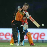 Sunrisers Hyderabad captain David Warner plays a delivery through the covers during match 59 The 2nd Qualifier of the Vivo IPL (Indian Premier League) 2016 between the Gujarat Lions and the Sunrisers Hyderabad held at The Feroz Shah Kotla Ground in Delhi, India, on the 27th May 2016  Photo by Shaun Roy / IPL/ SPORTZPICS