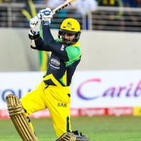 16 July 2016; Kumar Sangakkara of Jamaica Tallawahs hits 4 during Match 17 of the Hero Caribbean Premier League match between Jamaica Tallawahs v St Kitts & Nevis Patriots at Sabina Park in Kingston, Jamaica. Photo by Randy Brooks/Sportsfile