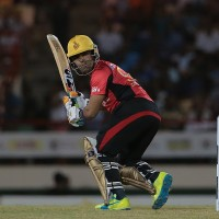 Gros Islet , Saint Lucia - 26 July 2016;  Trinbago Knight Riders Umar Akmal during the Hero Caribbean Premier League (CPL) Match 24 between St Lucia Zouks and Trinbago Knight Riders at the Daren Sammy Cricket Stadium in Gros Islet, St Lucia. (Photo By Ashley Allen/Sportsfile via Getty Images)