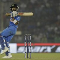 India's Virat Kohli plays a shot during the third one-day international cricket match against New Zealand in Mohali, India, Sunday, Oct. 23, 2016. (AP Photo/Tsering Topgyal)