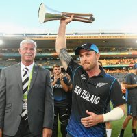 during the 2015 ICC Cricket World Cup match between Australia and New Zealand at Eden Park on February 28, 2015 in Auckland, New Zealand.