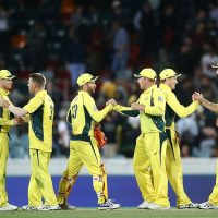 CANBERRA, AUSTRALIA - DECEMBER 06:  Australian players celebrate victory in game two of the One Day International series between Australia and New Zealand at Manuka Oval on December 6, 2016 in Canberra, Australia.  (Photo by Mark Metcalfe/Getty Images)
